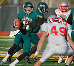 SPEARFISH, SD - NOVEMBER 23, 2013:  Black Hills State quarterback Ward Anderson #17 gets pressure from Western State Colorado University while looking for a receiver during their game Saturday at Lyle Hare Stadium in Spearfish, S.D. Black Hills State won 50-48 in triple overtime.  (Photo by Dick Carlson/Inertia)