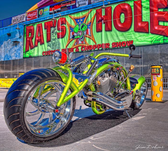 "Joe Palermo's ""Fatso"" bike represented the USA at the Daytona Beach Rat's Hole event in 2010."