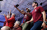 KENOSHA, WI - APRIL 28:  Springfield College fans cheer on their men's volleyball team at the Division III Men's Volleyball Championship held at the Tarble Athletic and Recreation Center on April 28, 2018 in Kenosha, Wisconsin. (Photo by Steve Woltmann/NCAA Photos via Getty Images)