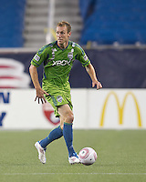 Seattle Sounders defender Tyson Wahl (5) looks to pass. In a Major League Soccer (MLS) match, the Seattle Sounders FC defeated the New England Revolution, 2-1, at Gillette Stadium on October 1, 2011.
