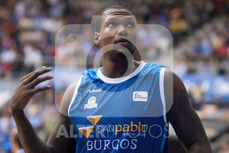 San Pablo Burgos's Deon Thompson during Liga Endesa match between San Pablo Burgos and Iberostar Tenerife at Coliseum Burgos in Burgos, Spain October 01, 2017. (ALTERPHOTOS/Borja B.Hojas)