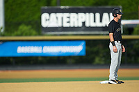 Jake Mueller (6) of the Wake Forest Demon Deacons stands on second base during Game Six of the Winston-Salem Regional against the West Virginia Mountaineers in the 2017 College World Series at David F. Couch Ballpark on June 4, 2017 in Winston-Salem, North Carolina.  The Demon Deacons defeated the Mountaineers 12-8.  (Brian Westerholt/Four Seam Images)
