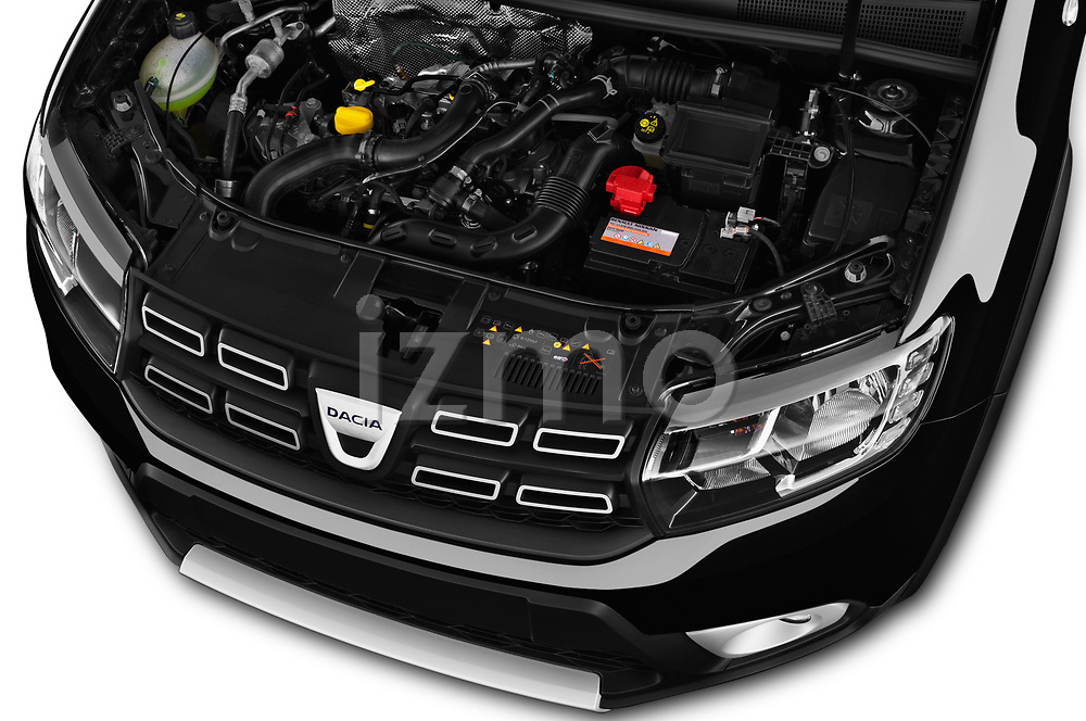 Car Stock 2017 Dacia Sandero Stepway 5 Door Hatchback Engine  high angle detail view