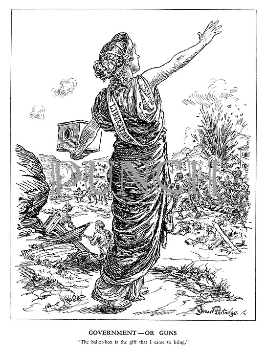 """Government - Or Guns. """"The ballot-box is the gift that I came to bring."""" (the goddess of Liberation urges democracy amid armed national uprising in the wake of the German Army's retreat)"""