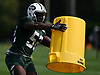 Anthony Wint #52 of the New York Jets simulates coverage drills using a garbage can during Training Camp at the Atlantic Health Jets Training Center in Florham Park, NJ on Saturday, Aug. 18, 2018.
