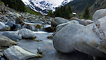 Fast flowing water in Alpine stream. Imst district, Tyrol/Tirol, Austria.