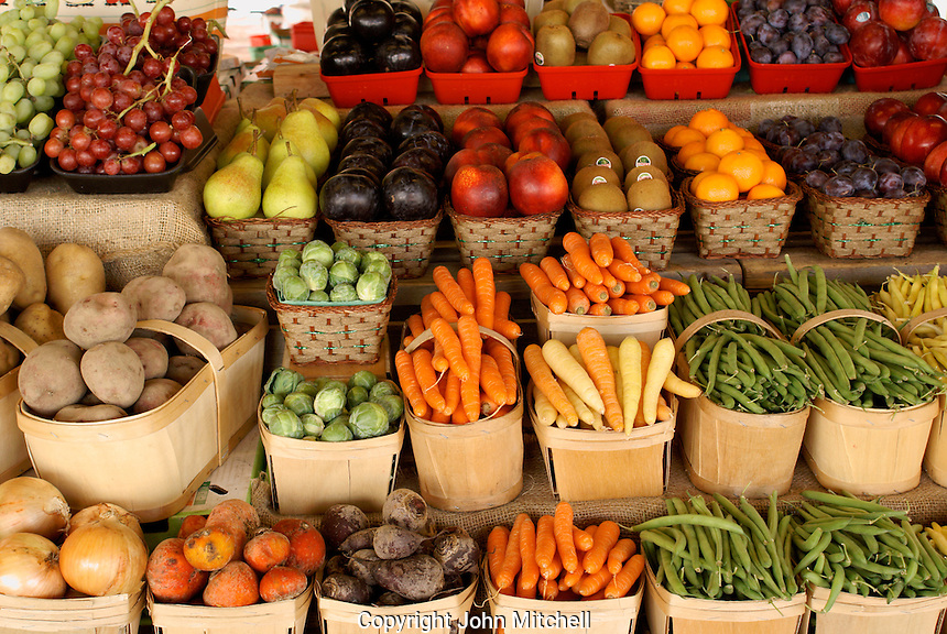 Fresh vegetables and fruit for sale in the Lachine Market, Montreal, Quebec, Canada