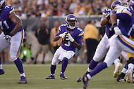 Canton, Ohio - August 9, 2015: Quarterback Teddy Bridgewater #5 of the Minnesota Vikings sets to pass the ball during a preseason game against the Pittsburgh Steelers at the Hall of Fame Stadium in Canton, Ohio, August 9, 2015.  (Photo by Don Baxter/Media Images International)