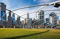 View of the Cloud Gate (The Bean) and the Chicago skyline viewed from Millennium Park; Chicago, IL