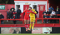 Alfreton Town's Richard Peniket and Fleetwood Town's Cian Bolger<br /> <br /> Photographer Rachel Holborn/CameraSport<br /> <br /> Emirates FA Cup First Round - Alfreton Town v Fleetwood Town - Sunday 11th November 2018 - North Street - Alfreton<br />  <br /> World Copyright &copy; 2018 CameraSport. All rights reserved. 43 Linden Ave. Countesthorpe. Leicester. England. LE8 5PG - Tel: +44 (0) 116 277 4147 - admin@camerasport.com - www.camerasport.com