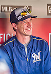 22 August 2015: Milwaukee Brewers Manager Craig Counsell smiles in the dugout prior to a game against the Washington Nationals at Nationals Park in Washington, DC. The Nationals defeated the Brewers 6-1 in the second game of their 3-game weekend series. Mandatory Credit: Ed Wolfstein Photo *** RAW (NEF) Image File Available ***
