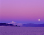Upper Klamath Basin, OR   <br /> Dawn alpenglow on Mt. McLaughlin with the setting moon over the Cascade Range and upper Klamath Lake