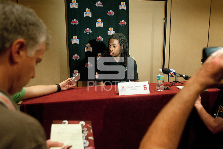 FORT LAUDERDALE, FL--Richard Sherman addresses members of the media at the Marriott Harbor Beach hotel in Fort Lauderdale, Florida.