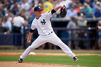 New York Yankees relief pitcher Nick Rumbelow (50) delivers a pitch during a Spring Training game against the Detroit Tigers on March 2, 2016 at George M. Steinbrenner Field in Tampa, Florida.  New York defeated Detroit 10-9.  (Mike Janes/Four Seam Images)