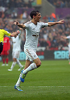 Jack Cork of Swansea City celebrates his goal during the Barclays Premier League match between Swansea City and Liverpool at the Liberty Stadium, Swansea on Sunday May 1st 2016