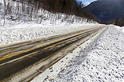 Route 112 in Kinsman Notch of Woodstock, New Hampshire USA during the winter months.