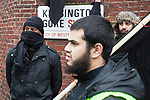© Joel Goodman - 07973 332324 - all rights reserved . 11/11/2010 . London , UK . Muslims Against Crusades hold a demonstration and burn a poppy on the anniversary of Armistice Day , at Kensington Gore , opposed by a demonstration of nationalist groups including the English Defence League ( EDL ) . Photo credit : Joel Goodman
