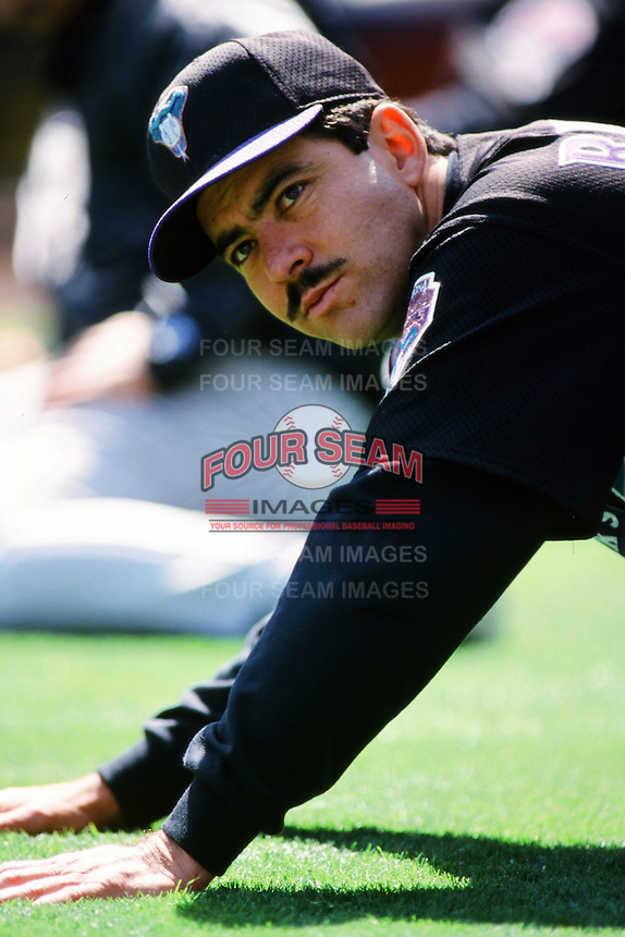 Armando Reynoso of the Arizona Diamondbacks stretches before a 1999 season Major League Baseball game against the Los Angeles Dodgers at Dodger Stadium in Los Angeles, California. (Larry Goren/Four Seam Images)