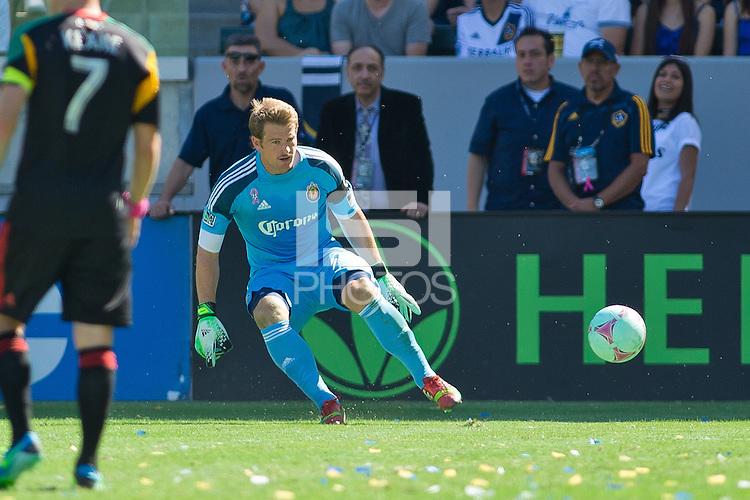 CARSON, California - October 6, 2013: The LA Galaxy  defeated Chivas USA 5-0 during a Major League Soccer (MLS) game at StubHub Center stadium.