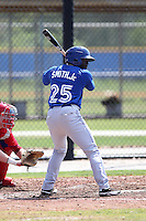 Toronto Blue Jays outfielder Dwight Smith Jr #25 during a minor league spring training game against the Philadelphia Phillies at the Englebert Minor League Complex on March 24, 2012 in Dunedin, Florida.  (Mike Janes/Four Seam Images)