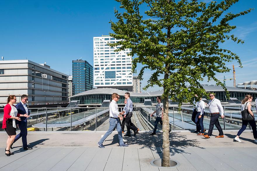 Nederland, Utrecht, 20180419<br /> Loop- en fietsbrug over de sporen van ns station Utrecht Centraal. Op de brug zijn ook een aantal bomen geplaats, wat niet alleen mooi is maar ook helpt de luchtkwaliteit te verbeteren.<br /> Veel medewerkers van kantoren gebruiken de brug voor hun pauzerondje.<br /> <br /> Foto: (c) Michiel Wijnbergh