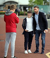 Pictured: Angel Rangel (R) with young fans Wednesday 18 May 2017<br /> Re: Swansea City FC, Player of the Year Awards at the Liberty Stadium, Wales, UK.