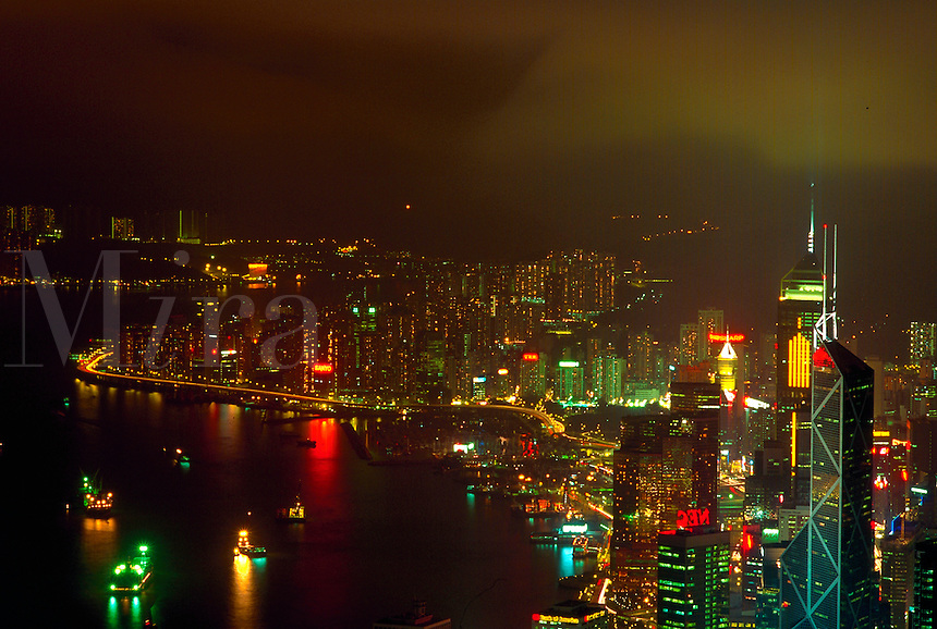 Hong Kong harbor at night, view from Victoria Park, China