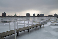 Sarnia skyline seen from Sarnia Bay Marina jetty at Centennial Park.
