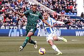 10th February 2019,  Estadio Municipal de Butarque, Leganes, Spain; La Liga football, Leganes versus Real Betis; Sidnei (Betis) challenges for with Braithwaite (CD Leganes)