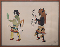Buffalo dancer following a man in a green shirt carrying a bow, by Alfonso Royal or Awa Tsireh, 1895-1955, Puebloan artist, in the Chapin Mesa Archeological Museum, in Mesa Verde National Park, Montezuma County, Colorado, USA. Alfonso Royal is from San Ildefonso Pueblo, New Mexico, and is of the Santa Fe Indian School of Art. Mesa Verde is the largest archaeological site in America, with Native Americans inhabiting the area from 7500 BC to 13th century AD. It is listed as a UNESCO World Heritage Site. Picture by Manuel Cohen