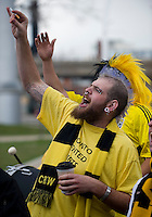 2 May 2009: A Columbus Crew fan shows his support at BMO Field in Toronto in a  game between the Columbus Crew and Toronto FC..The game ended in a 1-1 draw.