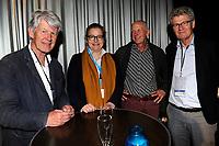 GRONINGEN - Volleybal , Lycurgus - Orion, finale playoff 3, seizoen 2018-2019, 01-05-2019nieuw bestuur met vlnr  voorzitter Arie Wink, Rianne Folkerts, Tonnie de Jonge, Geert van der Schuur