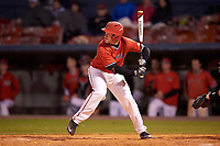 Ball State Cardinals first baseman Caleb Stayton (34) at bat during a game against the Wisconsin-Milwaukee Panthers on February 26, 2016 at Chain of Lakes Stadium in Winter Haven, Florida.  Ball State defeated Wisconsin-Milwaukee 11-5.  (Mike Janes/Four Seam Images)