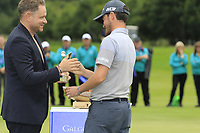 Modest Golf Director Mark McDonnell presents Cormac Sharvin (NIR) highest placed Irish golfer with the Bridgestone Award at the end of Sunday's Final Round of the Northern Ireland Open 2018 presented by Modest Golf held at Galgorm Castle Golf Club, Ballymena, Northern Ireland. 19th August 2018.<br /> Picture: Eoin Clarke | Golffile<br /> <br /> <br /> All photos usage must carry mandatory copyright credit (&copy; Golffile | Eoin Clarke)