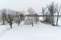 63895-16806 Pleasant Grove Methodist Church in snow-winter-aerial-Marion Co. IL
