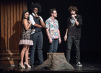 Apollo Night hosts Nina Reynoso '16 and Chance Ward '18 introduce Angus McDonald '16 and Eren Isvan '19. Occidental College students perform and compete during Apollo Night, one of Oxy's biggest talent showcases, on Friday, Feb. 26, 2016 in Thorne Hall. Sponsored by ASOC, hosted by the Black Student Alliance as part of Black History Month.<br /> (Photo by Marc Campos, Occidental College Photographer)