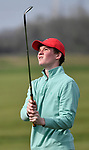 Riternour golfer Zach Bohmer watches his drive. Golfers in Suburban Central and Suburban XII Conference schools competed in a tournament at the Gateway National Golf Course in Madison, Illinois on Wednesday April 25, 2018.  Tim Vizer | Special to STLhighschoolsports.com