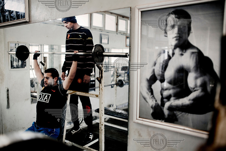 Mohamed Sharif (sitting) and Mohamed Buocjiea train at Garyounis gym in Benghazi. On 17 February 2011 Libya saw the beginnings of a revolution against the 41 year regime of Col Muammar Gaddafi....