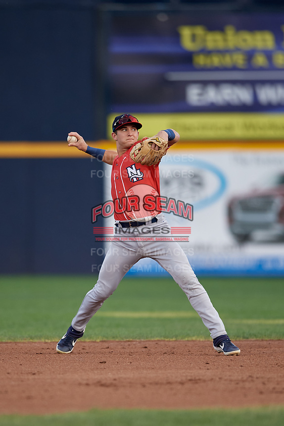 New Hampshire Fisher Cats shortstop Logan Warmoth (5) throws to first base during an Eastern League game against the Trenton Thunder on August 20, 2019 at Arm & Hammer Park in Trenton, New Jersey.  New Hampshire defeated Trenton 7-2.  (Mike Janes/Four Seam Images)
