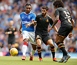 14.07.2019: Rangers v Marseille: Alfredo Morelos with Morgan Sanson and Luiz Gustavo