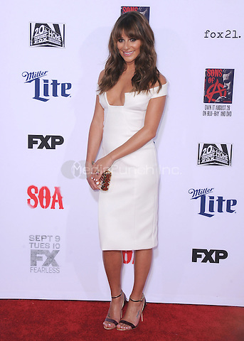 "HOLLYWOOD, CA - SEPTEMBER 6:  Lea Michele at the premiere screening of FX's ""Sons of Anarchy"" at the TCL Chinese Theatre on September 6, 2014 in Hollywood, California. Credit: PGSK/MediaPunch"