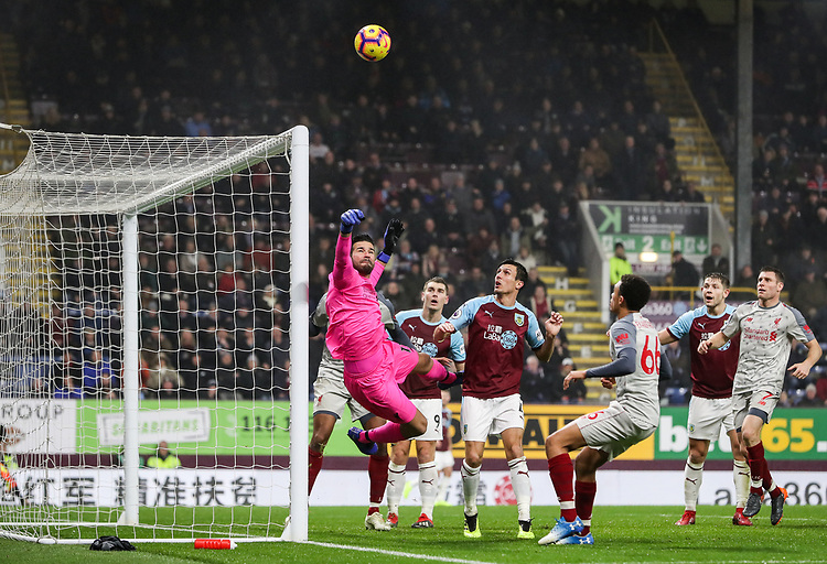 Liverpool's goalkeeper  Alisson Becker saves<br /> <br /> Photographer Andrew Kearns/CameraSport<br /> <br /> The Premier League - Burnley v Liverpool - Wednesday 5th December 2018 - Turf Moor - Burnley<br /> <br /> World Copyright © 2018 CameraSport. All rights reserved. 43 Linden Ave. Countesthorpe. Leicester. England. LE8 5PG - Tel: +44 (0) 116 277 4147 - admin@camerasport.com - www.camerasport.com