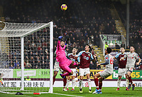 Liverpool's goalkeeper  Alisson Becker saves<br /> <br /> Photographer Andrew Kearns/CameraSport<br /> <br /> The Premier League - Burnley v Liverpool - Wednesday 5th December 2018 - Turf Moor - Burnley<br /> <br /> World Copyright &copy; 2018 CameraSport. All rights reserved. 43 Linden Ave. Countesthorpe. Leicester. England. LE8 5PG - Tel: +44 (0) 116 277 4147 - admin@camerasport.com - www.camerasport.com
