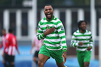 Christian Assombalonga of Waltham Abbey scores the first goal for his team and celebrates during AFC Hornchurch vs Waltham Abbey, Bostik League Division 1 North Football at Hornchurch Stadium on 13th January 2018