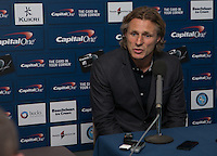 Wycombe Wanderers Manager Gareth Ainsworth gives a post match interview to the press during the Capital One Cup match between Wycombe Wanderers and Fulham at Adams Park, High Wycombe, England on 11 August 2015. Photo by Andy Rowland.