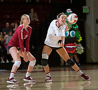 STANFORD, CA - November 3, 2018: Morgan Hentz, Kate Formico at Maples Pavilion. No. 1 Stanford Cardinal defeated No. 15 Colorado Buffaloes 3-2.