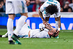 Sergio Ramos of Real Madrid lies injured on the pitch during the La Liga 2017-18 match between Real Madrid and Athletic Club Bilbao at Estadio Santiago Bernabeu on April 18 2018 in Madrid, Spain. Photo by Diego Souto / Power Sport Images