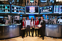 U.S. Soccer President Sunil Gulati, former U.S. Men's National Team star Jeff Agoos , U.S. Women's National Team midfielder Carli Lloyd, New York Red Bulls general manager Jerome de Bontin, and Stefhan Jekel, managing director of EMEA pose for a photo before ringing the closing bell of the NYSE during the centennial celebration of U. S. Soccer at the New York Stock Exchange in New York, NY, on April 02, 2013.