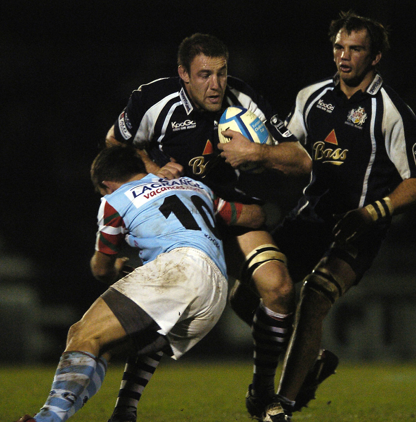 Photo: Jonathan Butler..Bristol Rugby v Bayonne. European Challenge Cup. 15/12/2006..Roy Winter of Bristol breaks past Gerard Fraser tackle.