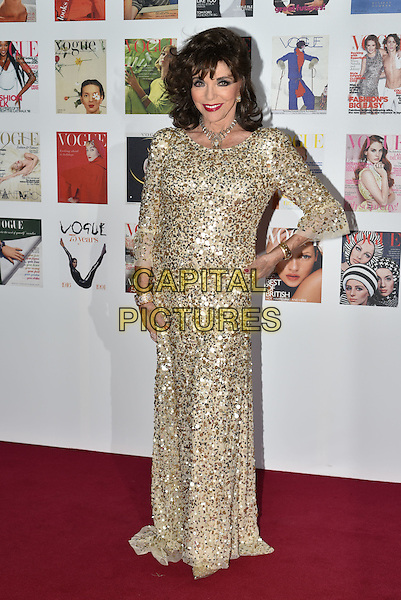 Dame Joan Collins at the Vogue100 anniversary gala dinner, British Vogue's centenary anniversary party, The East Albert Lawn in Kensington Gardens, Hyde Park, London, England, UK, on Monday 23 May 2016.<br /> CAP/PL<br /> &copy;PL/Capital Pictures
